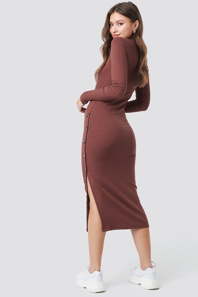 Button Ribbed Midi Dress Red Sand