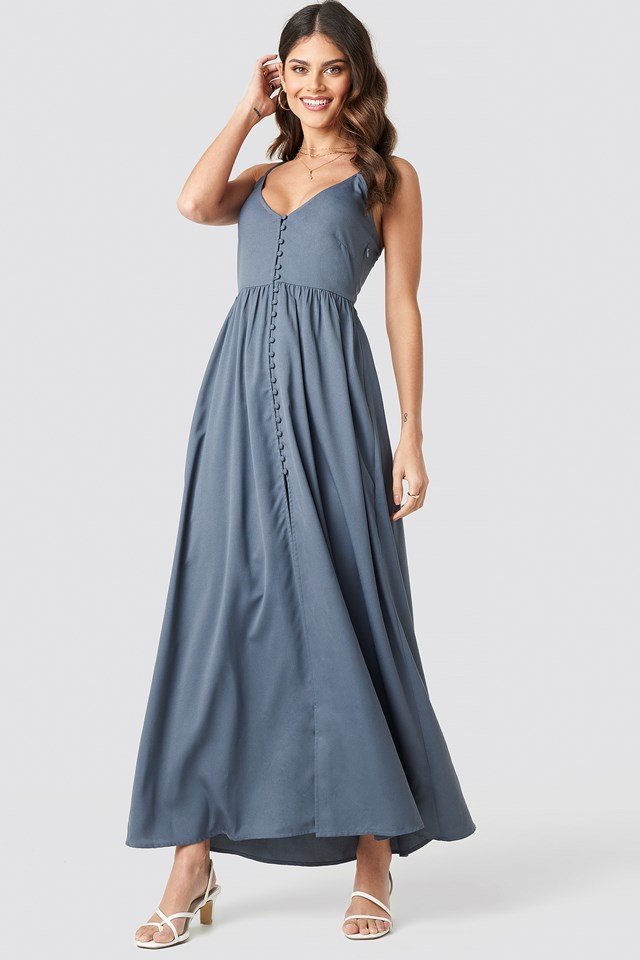 Button Up V-Neck Dress Grey