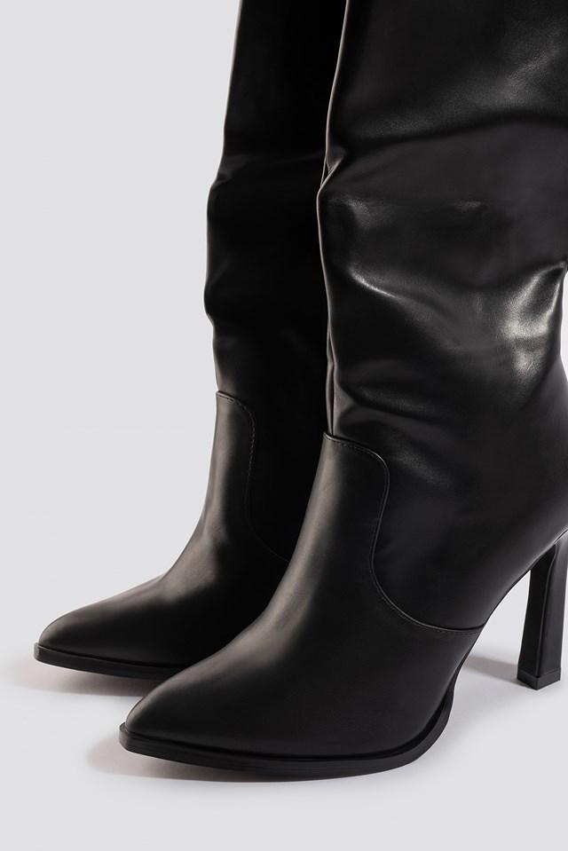 Calf High Cowboy Boots Black