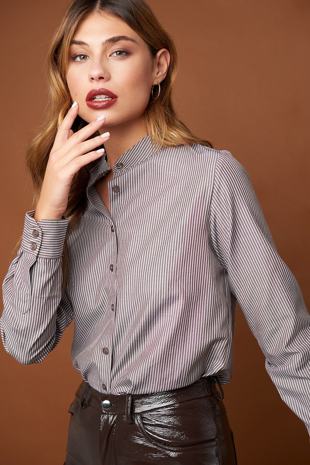 Collar Stand Long Sleeve Shirt Brown Stripe