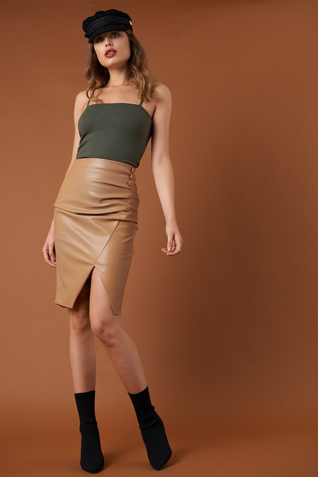 Draped PU Skirt NA-KD Trend