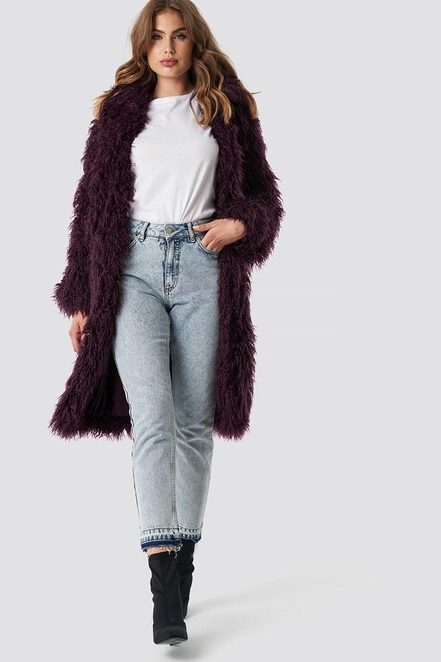 Faux Fur Long Jacket Burgundy