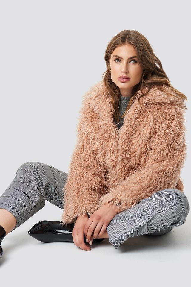 Faux Fur Short Jacket Pink
