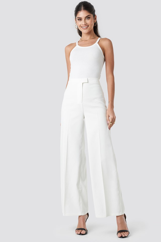 Flared Suit Pants White