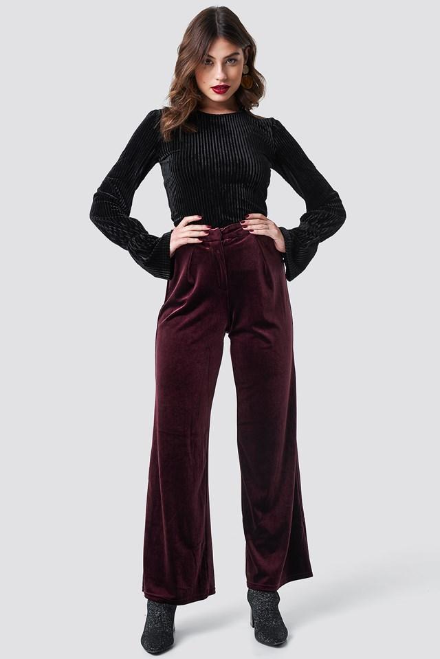 Flared Velvet Pants Wine Red