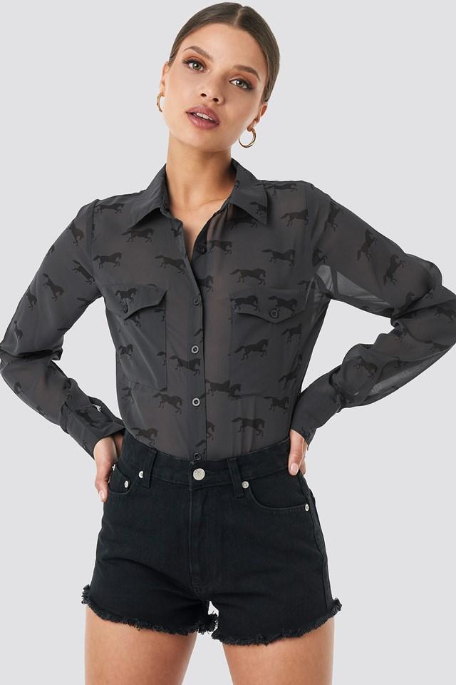 Fringe Hem Short Denim Shorts Black