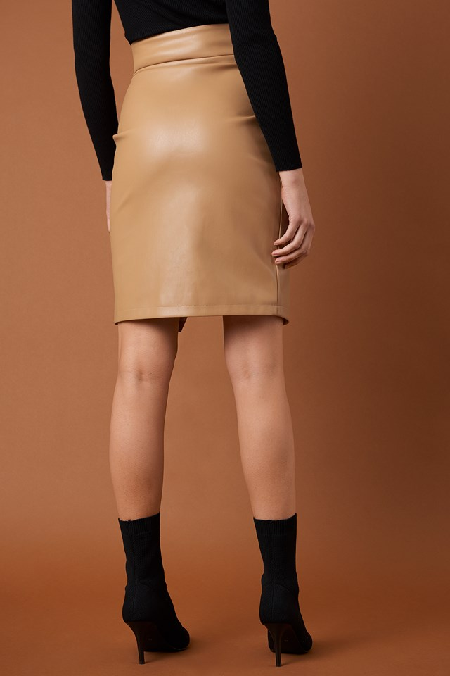 Front Zipper PU Skirt Tan