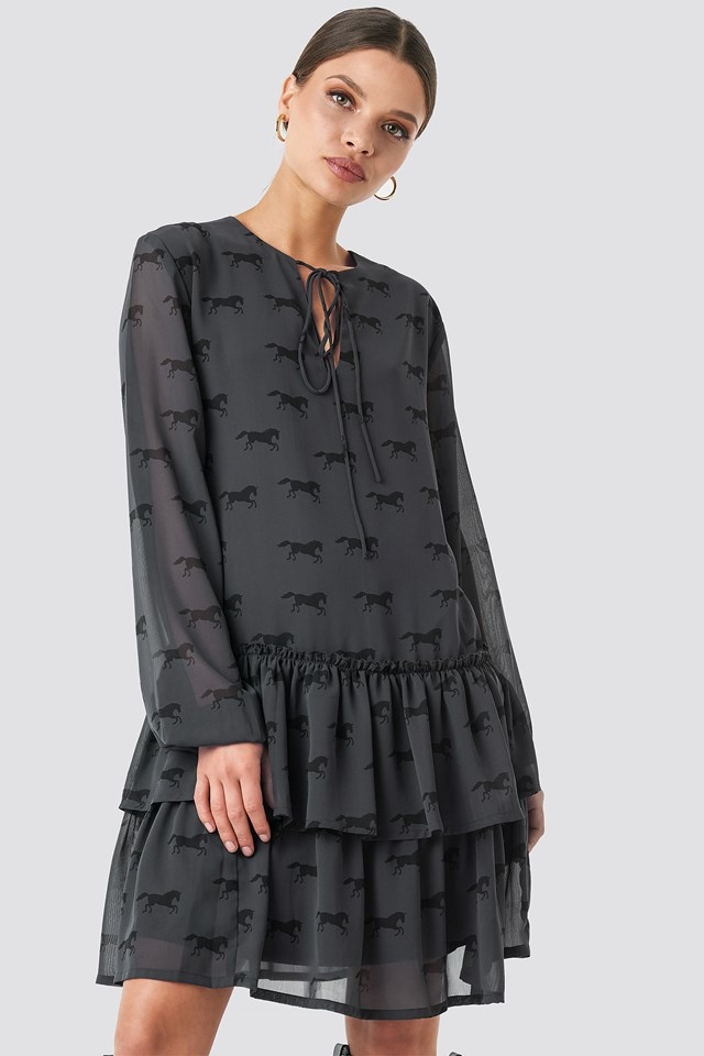 Giddy Up Printed Short Dress Black
