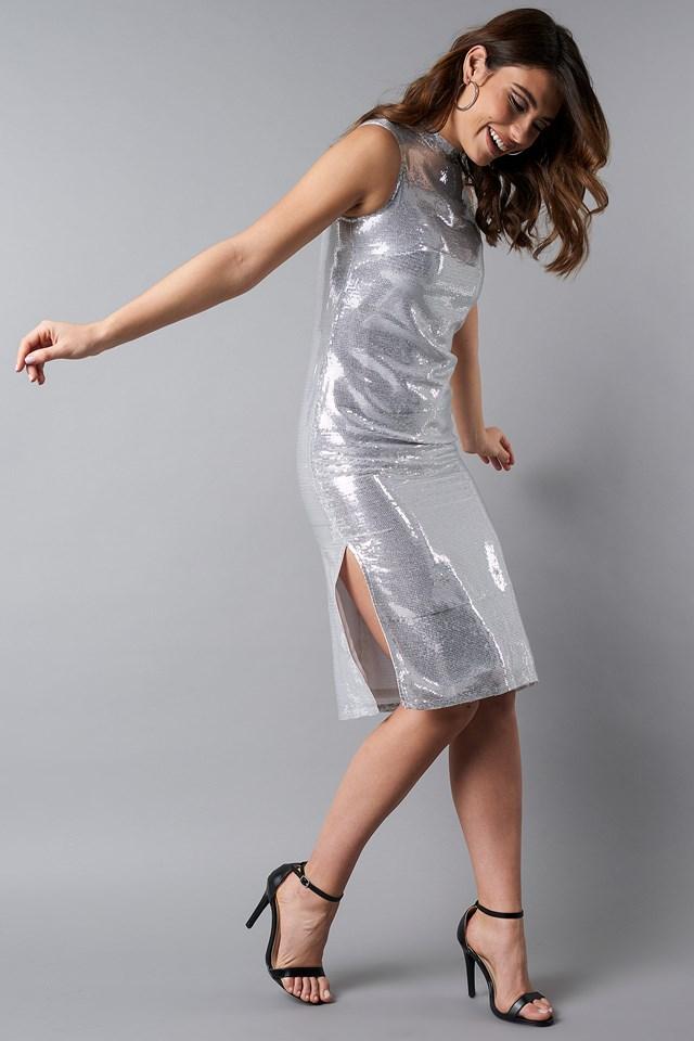 High Neck Side Slit Sequins Dress Silver