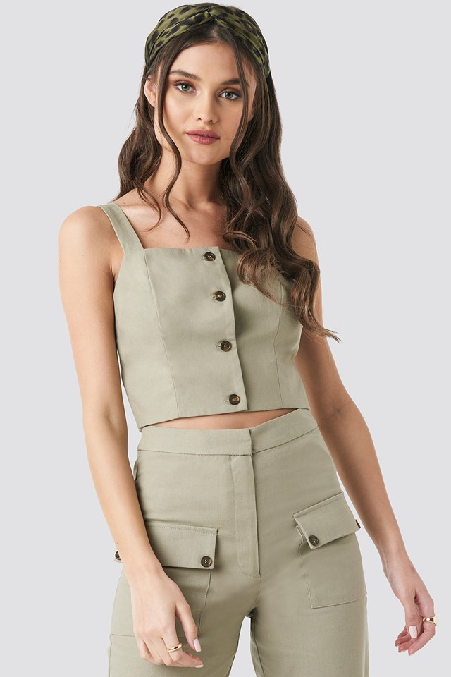 Linen Look Button Up Top NA-KD Trend
