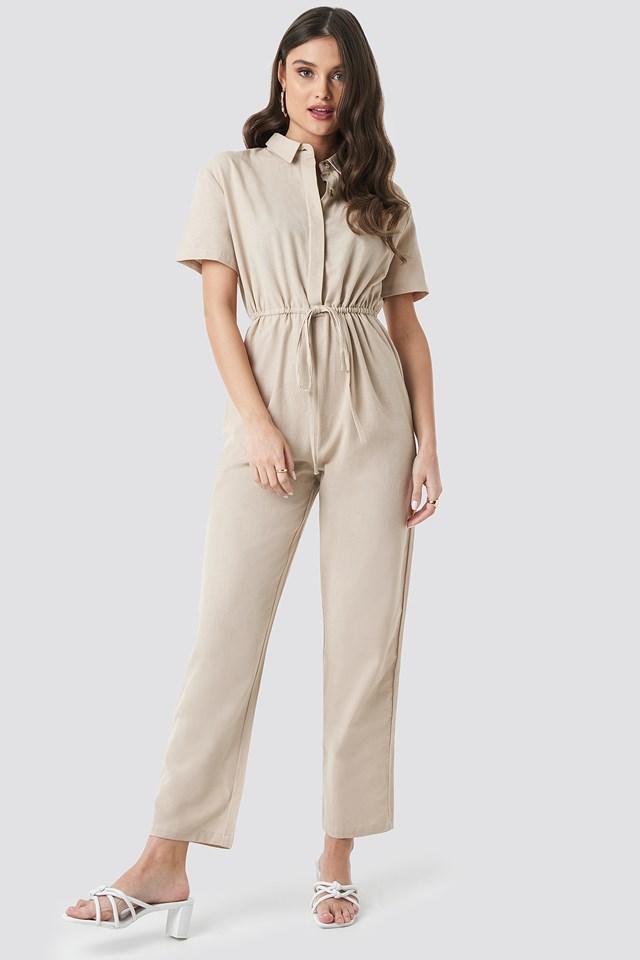 Linen Look Drawstring Shirt Jumpsuit Beige