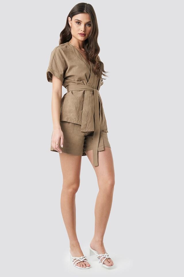 Linen Look Overlap Shirt Blouse Beige