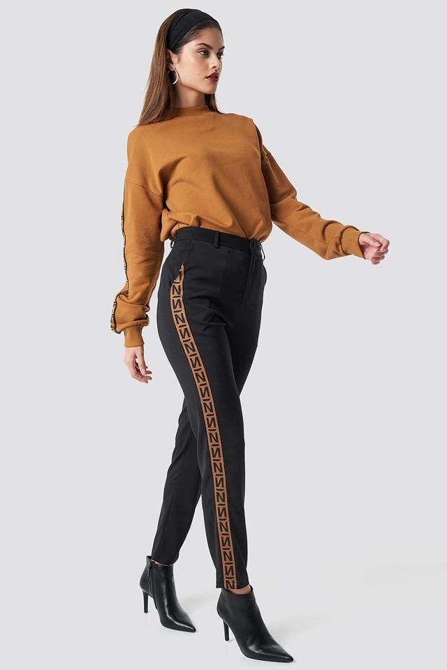 N Branded Suit Pants Black/Burned Brown