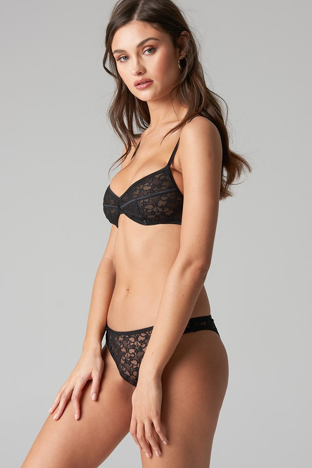 Flower Lace Panty Black