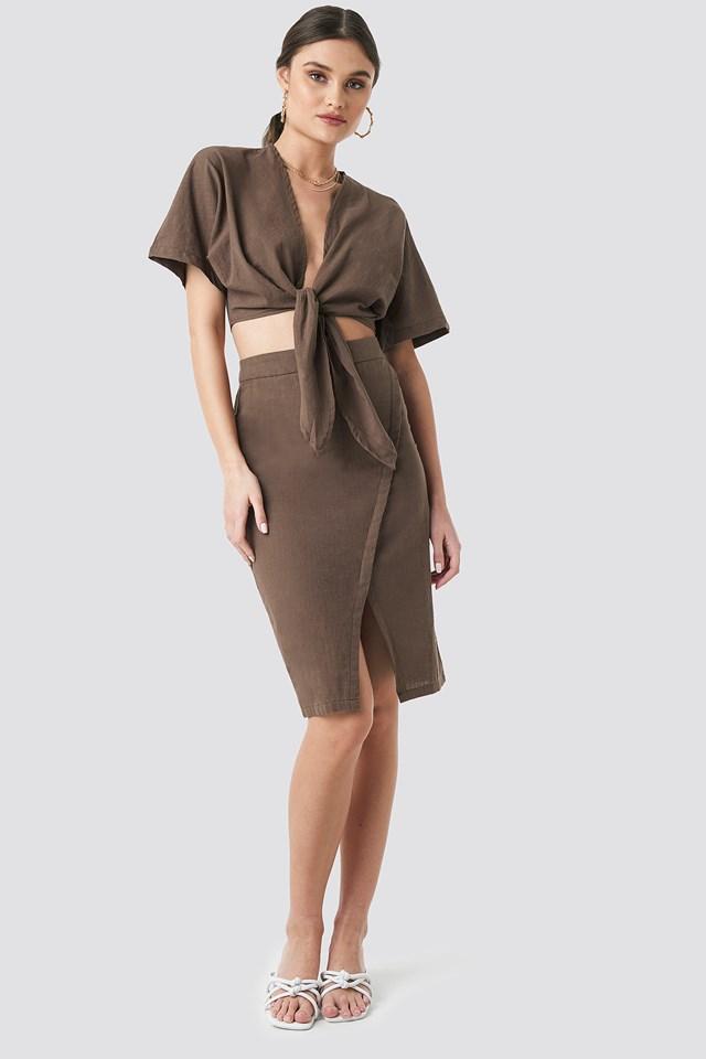 Overlap Linen Look Skirt Brown