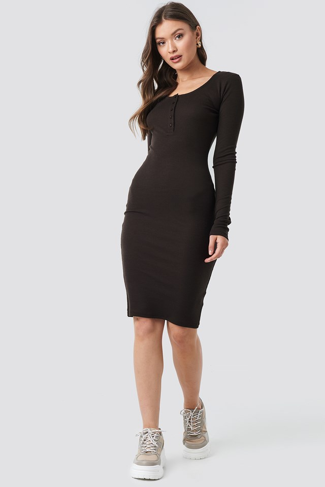 Ribbed Henley Dress Coffee