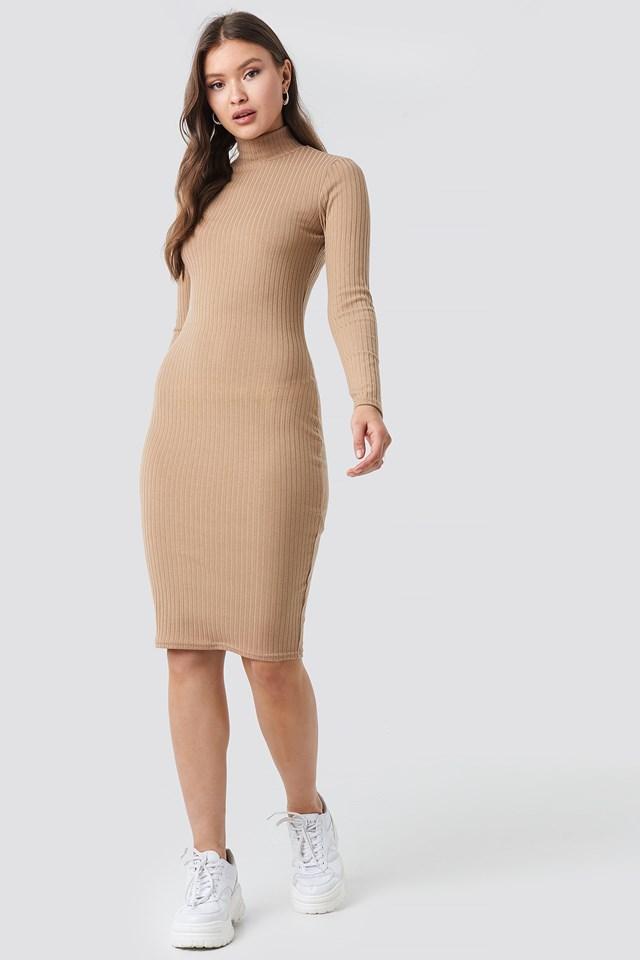Ribbed High Neck Dress Beige