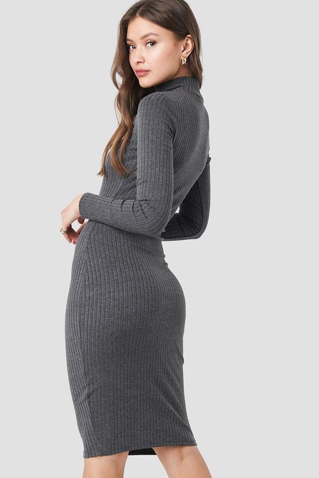 Ribbed High Neck Dress Grey Melange