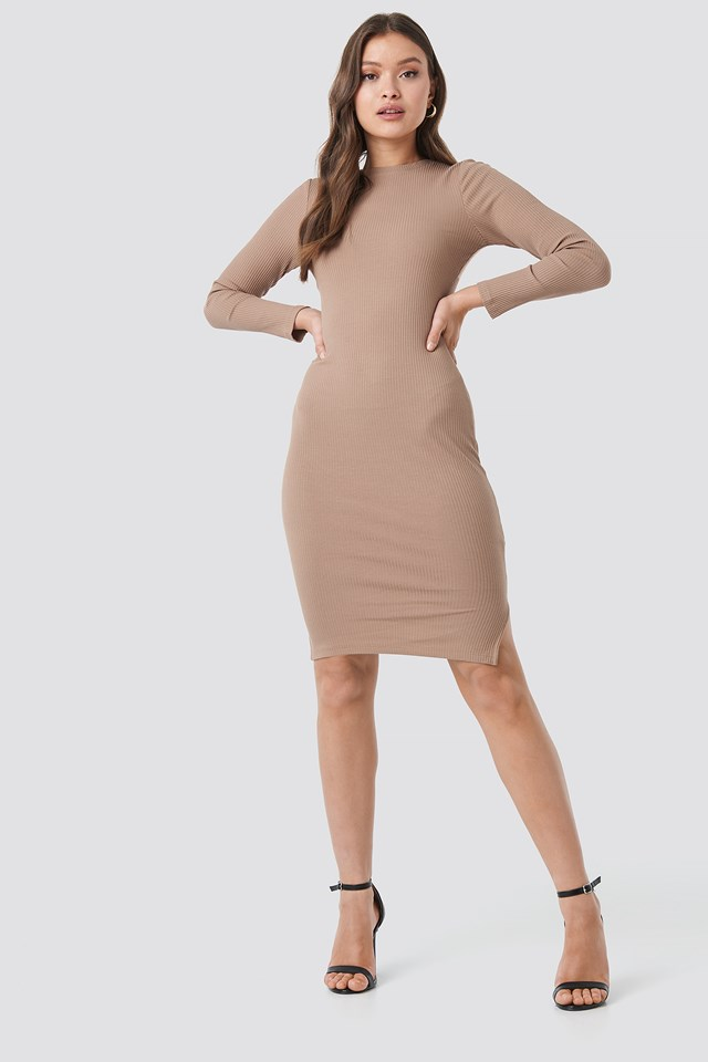 Ribbed Jersey Long Sleeve Dress Beige
