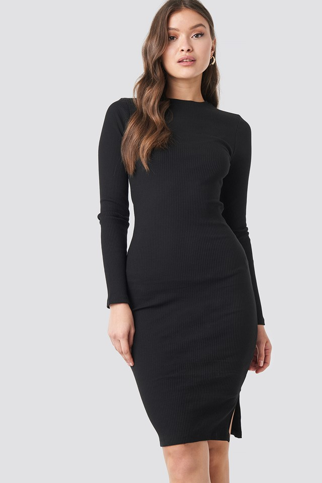 Ribbed Jersey Long Sleeve Dress Black