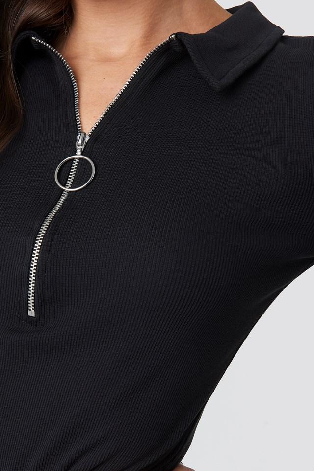 Ribbed Zip Dress Black