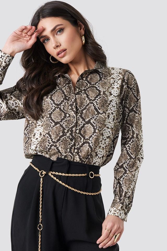 Snake Printed Cotton Shirt Brown