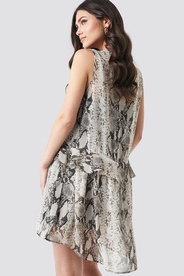 Snake printed Short Chiffon Dress Grey