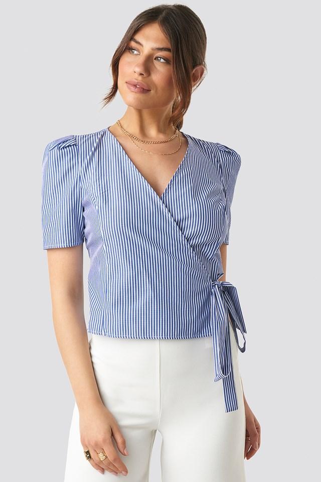 Striped Wrap Over Side Top Blue/White Stripe