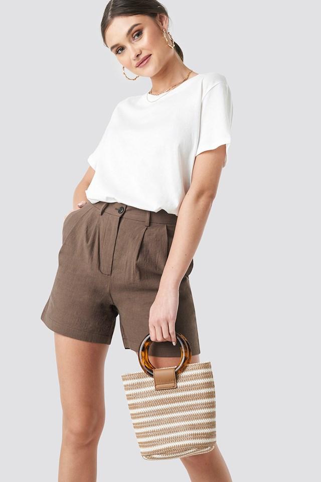 Strawy Bucket Bag Brown Stripe