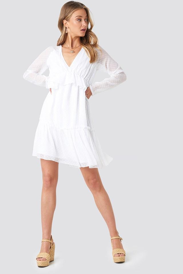 Swiss Dot V-Neck Flounce Dress White