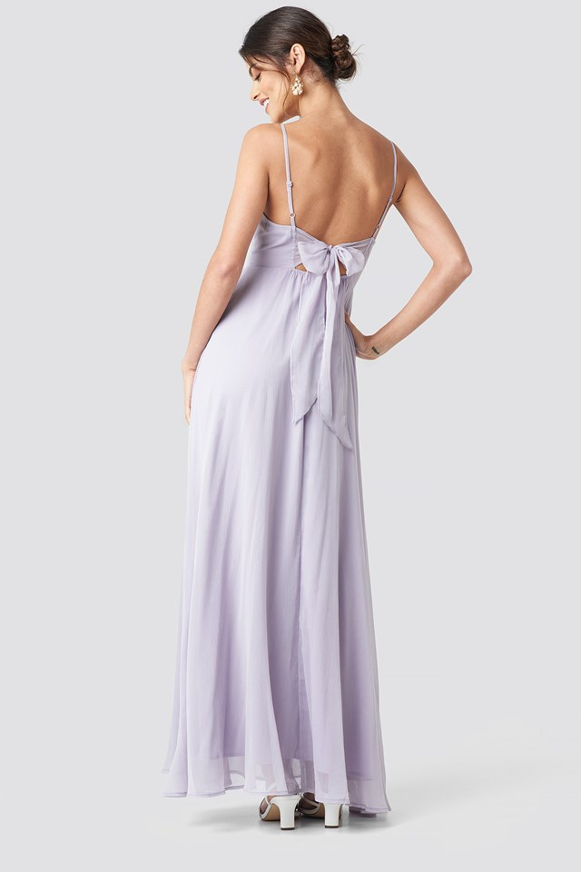 Tie Back Detail Maxi Dress Dusty Lavender