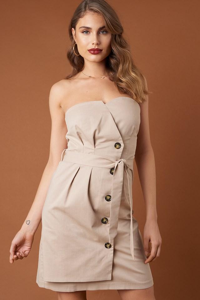 Tie Waist Paperbag Mini Dress Beige