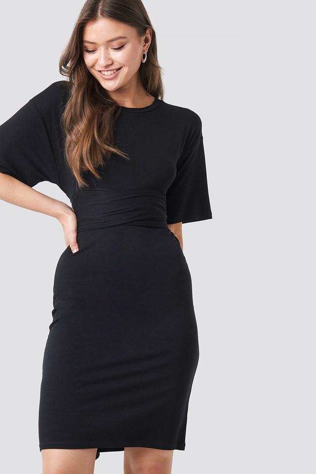 Wrapped Detail Jersey Dress Black