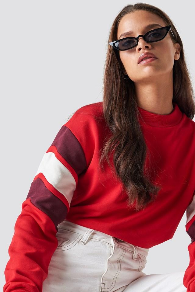 Blocked Bicep Sweatshirt Red