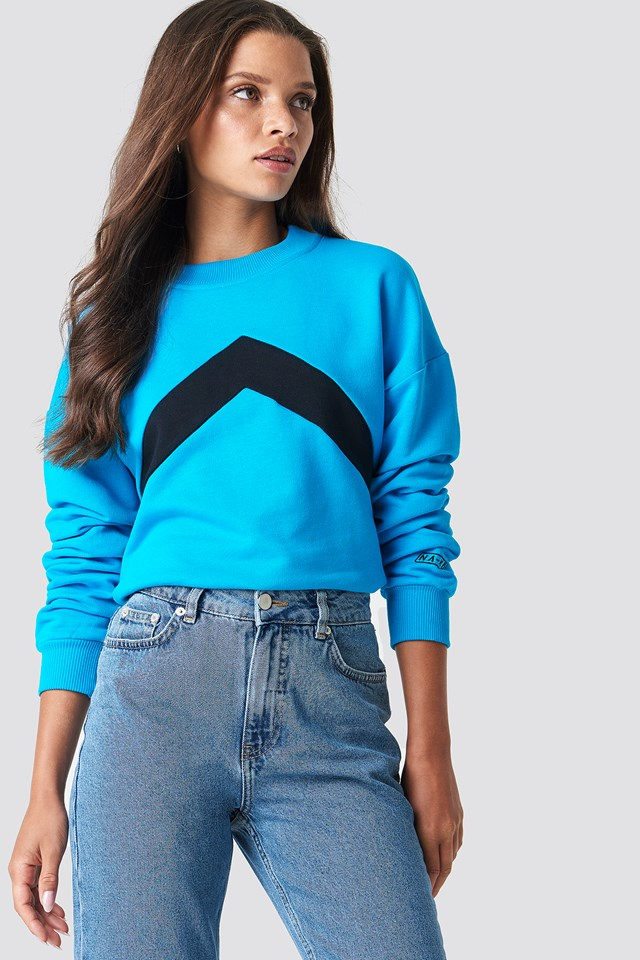Blocked Chest Sweatshirt Blue
