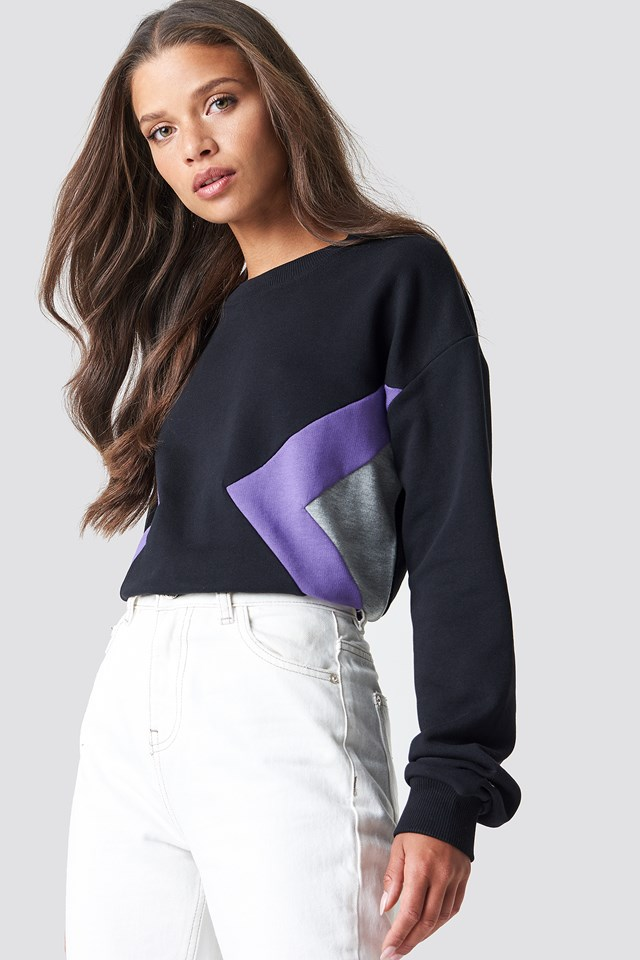 Blocked Side Sweatshirt Black