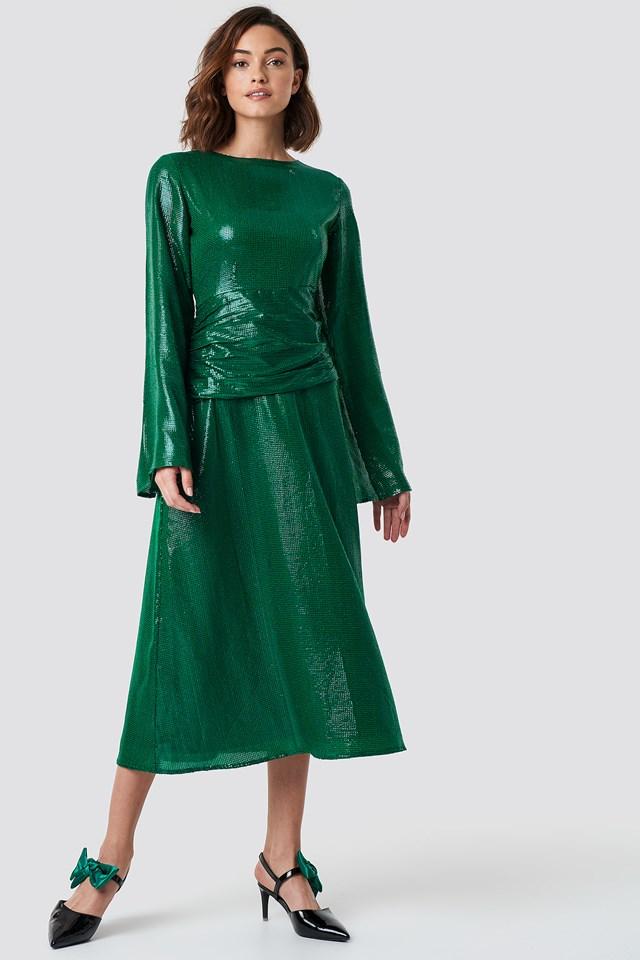 Gathering Detail Sequins Midi Dress Green