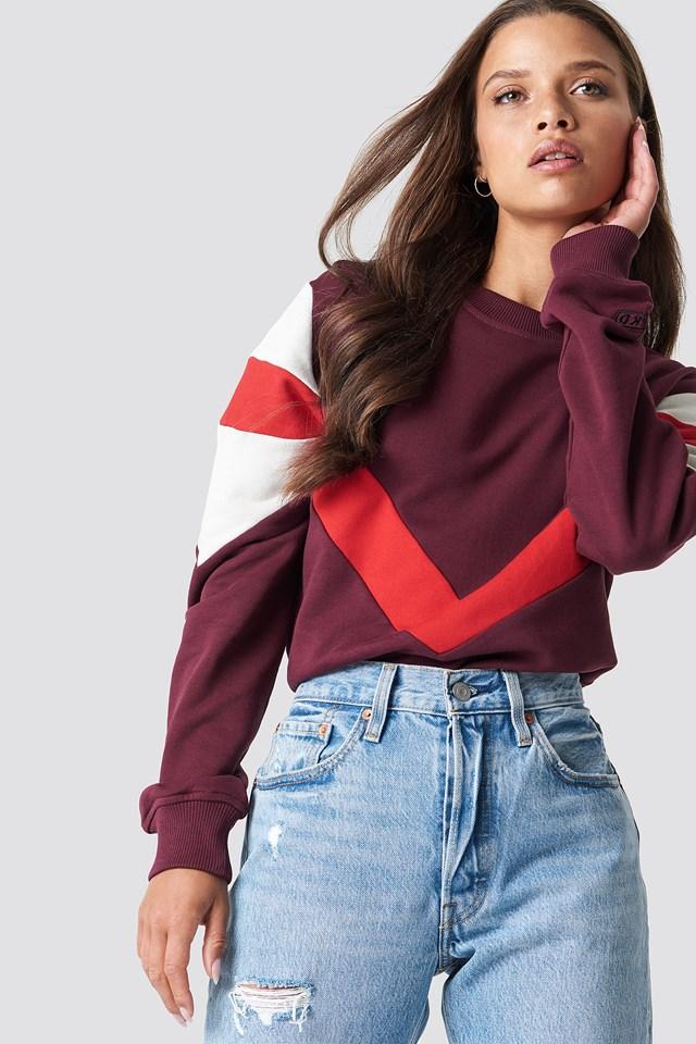 Multi Blocked Sweatshirt Dark Red