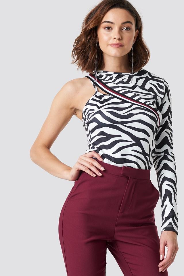 One Sleeve Zebra Top Zebra