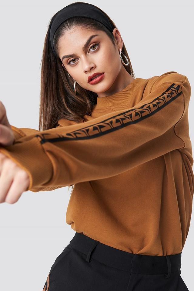 N Branded Stripe Sweatshirt Burned Brown