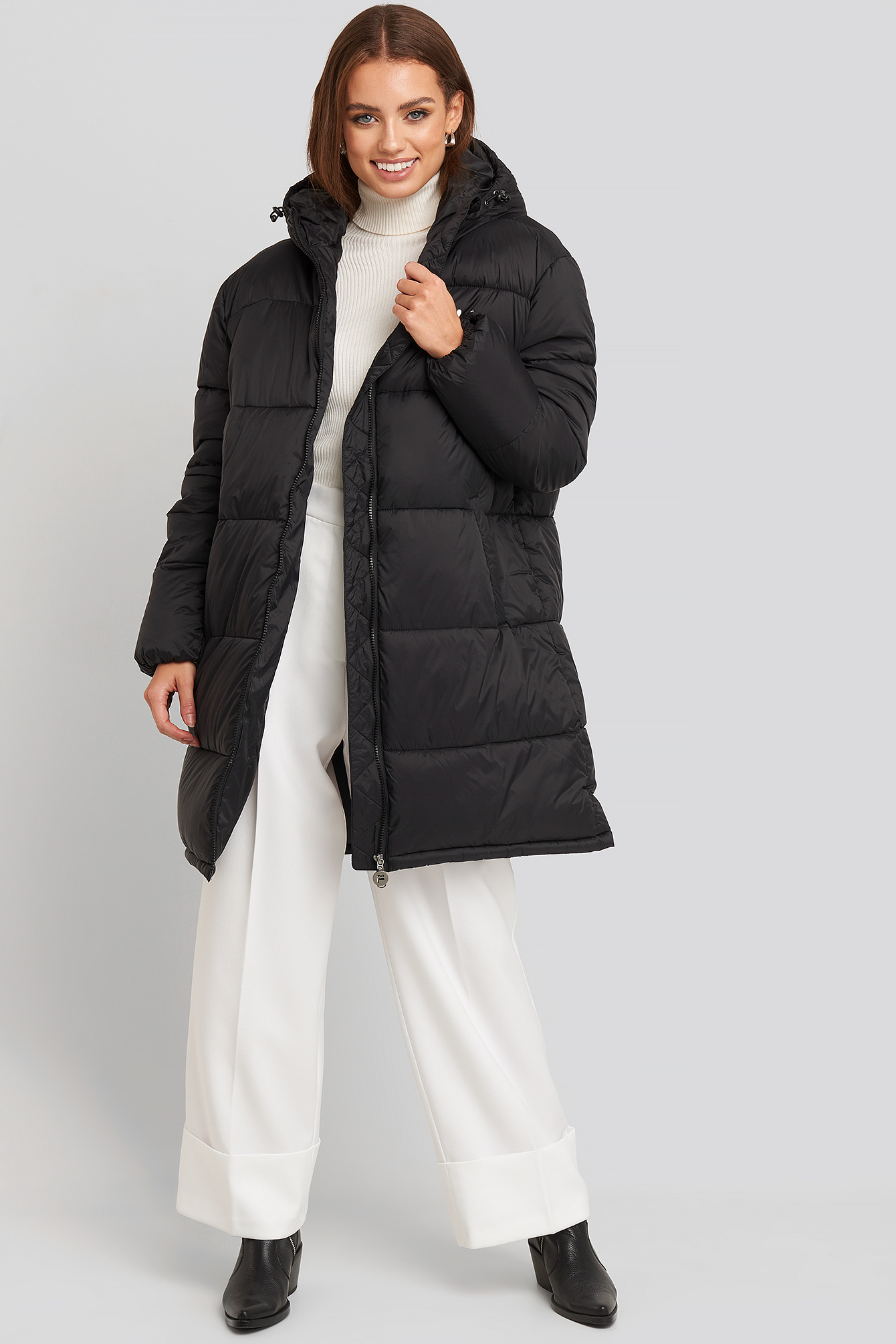 Black Bronwen Puff Hood Jacket