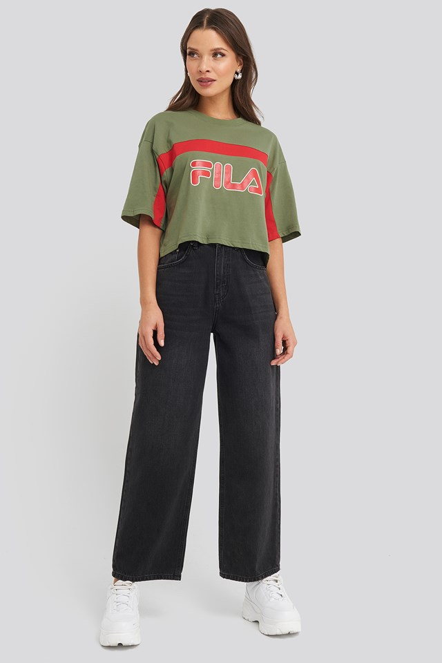 Ulani Cropped Tee Deep Lichen Green/True Red