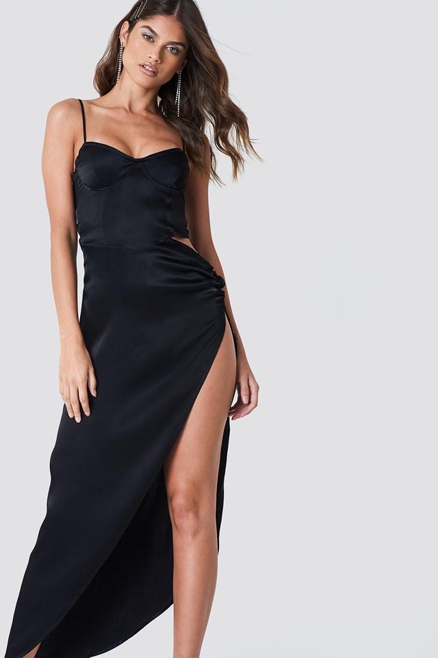 Cut Out Long Slit Dress Ink