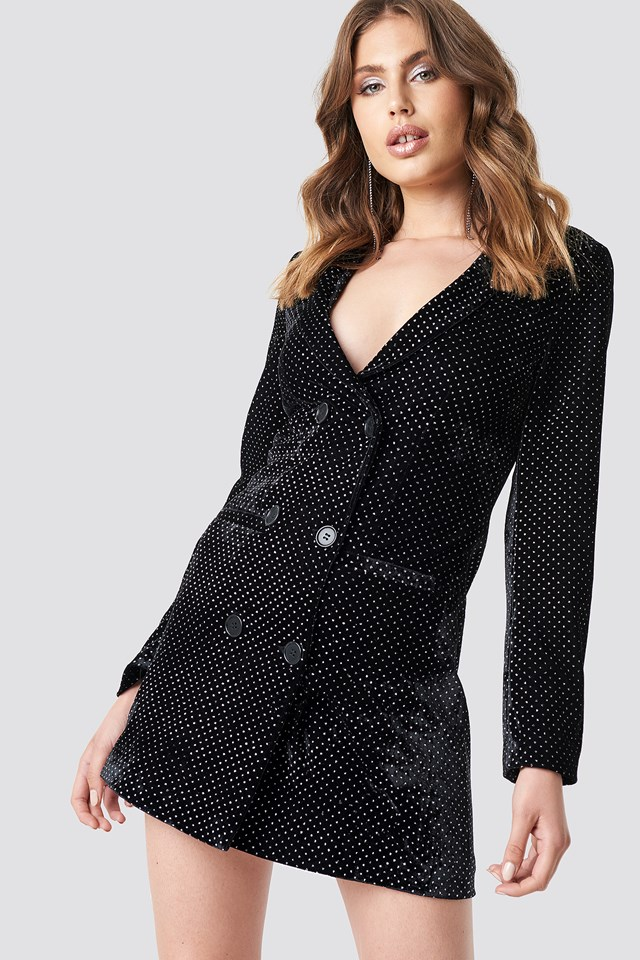Sparkling Velvet Blazer Dress Black