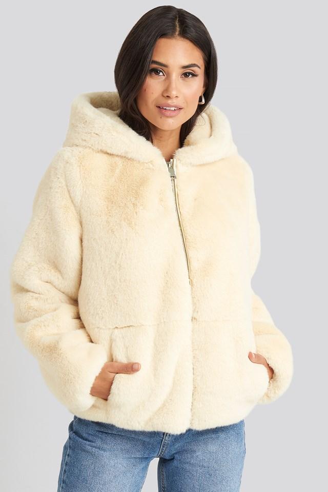 Faux Fur Hoodie Jacket Off White