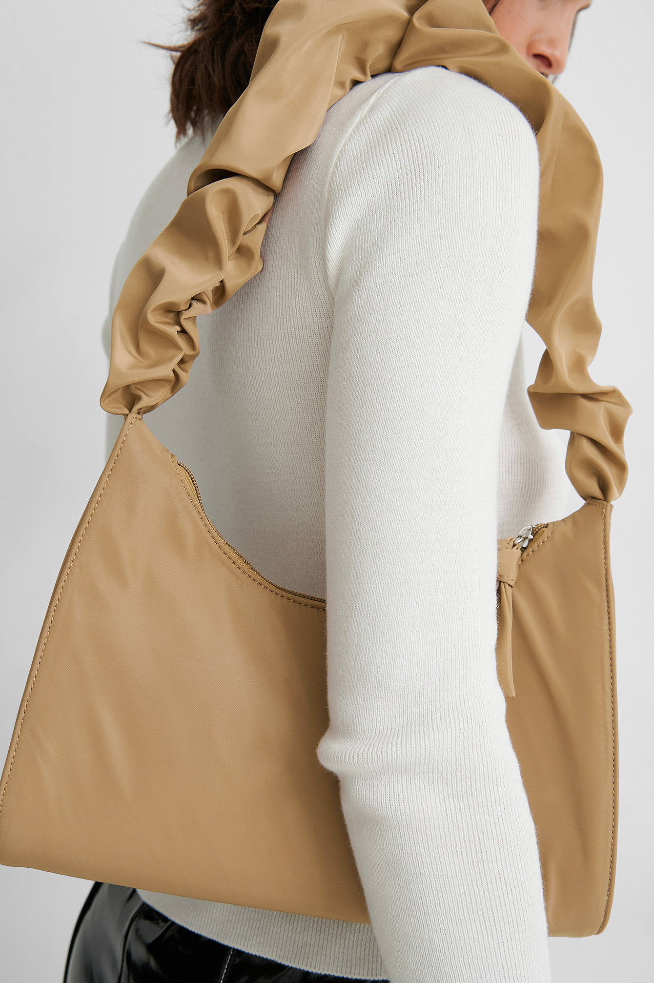 Latte Frilled Nylon Bag