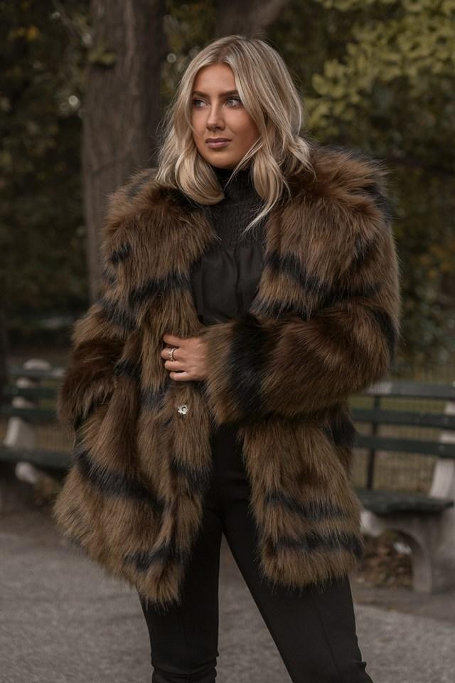 Cropped Sleeve Faux Fur Jacket Tiger