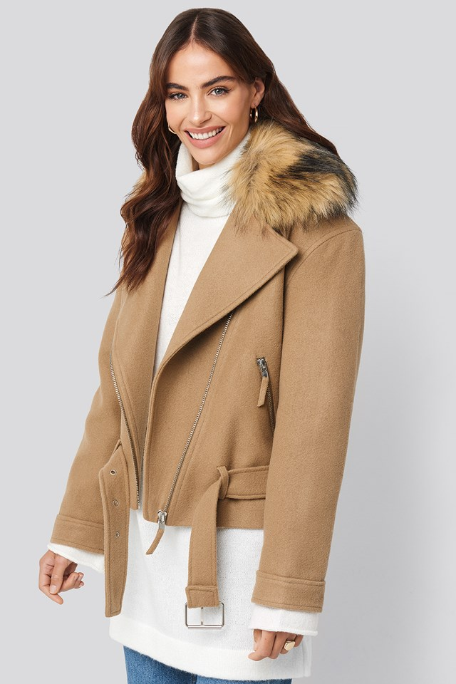 Faux Fur Collar Biker Jacket Beige
