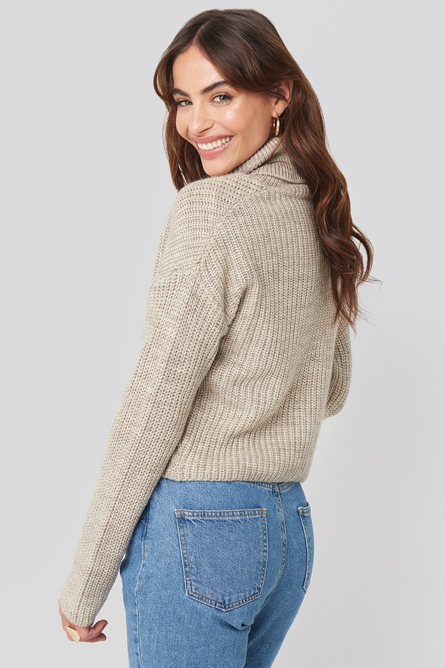 Folded Polo Neck Knitted Sweater Beige