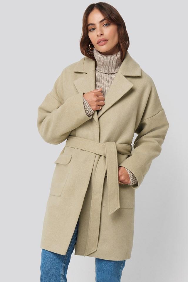 Oversized Midi Coat Beige